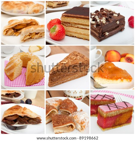 Collage of Nine Various Pies, Dessert and Cakes