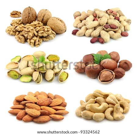 Collage of nuts: walnuts,filbert,peanut,almonds,pistachios,cashew