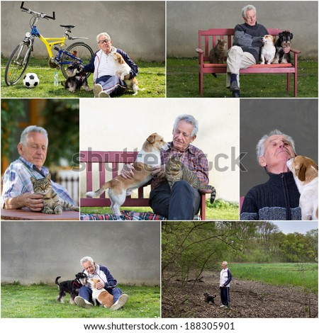 Collage of old man with his pets, outdoor
