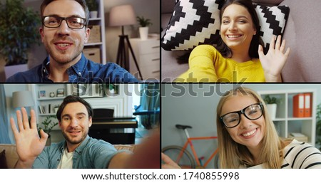 Collage of online video chat of four friends on computer screen in room. Caucasian cheerful men and women talking on video call. Males and females chatting through web camera. Leisure concept