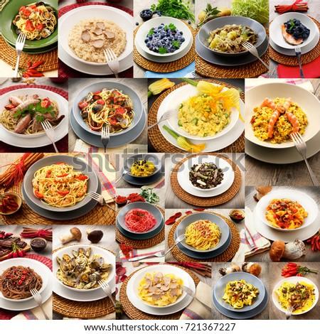 collage of original italian pasta