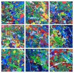Collage of paint splattered walls in an children's art studio.