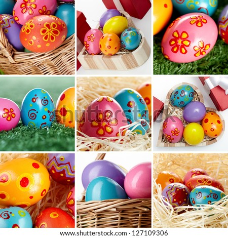 Collage of painted Easter eggs in different compositions