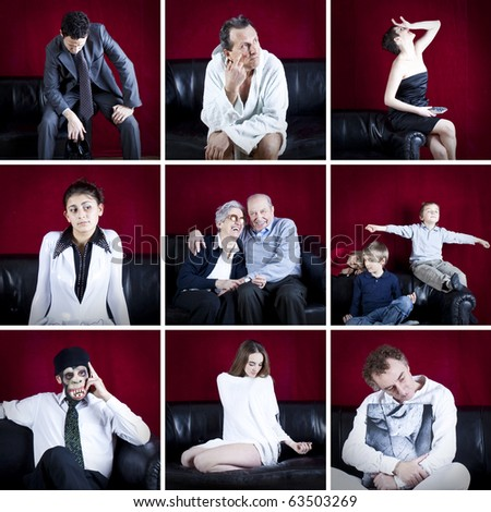 collage of particular people on the sofa with velvet red background