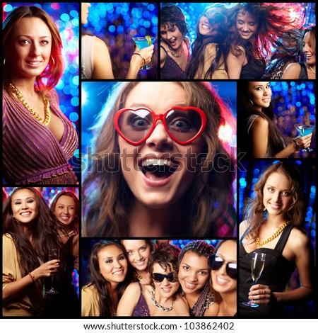 Collage of partying girls having fun in night club