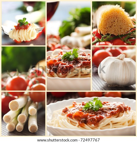 Collage of pasta dish. Spaghetti with tomato sauce, cherry tomatoes, spring onions and other ingredients.