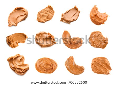 Collage of peanut butter on white background #700832500