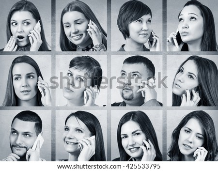 Collage of people calling on the phone #425533795
