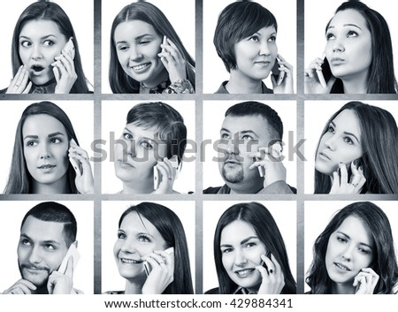 Collage of people calling on the phone #429884341