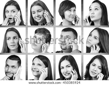 Collage of people calling on the phone #450385924