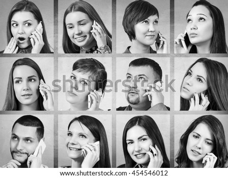 Collage of people calling on the phone #454546012