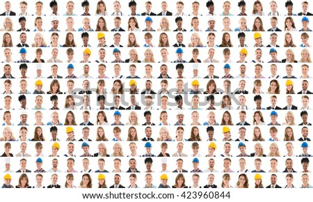 Collage Of People From Different Occupations Smiling Against White Background #423960844