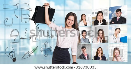 Collage of people from different professions squared blocks with business concept and businesswoman in the center