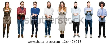 Collage of people over white isolated background Smiling with hands palms together receiving or giving gesture. Hold and protection