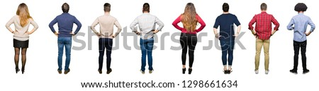 Collage of people over white isolated background standing backwards looking away with arms on body