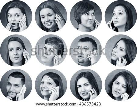 Collage of people speak on the phone #436573423