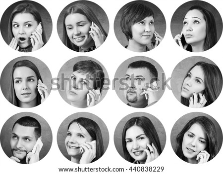 Collage of people speak on the phone #440838229