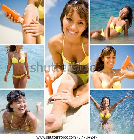 Collage of photo pretty white woman sunning on the beach and on the sea