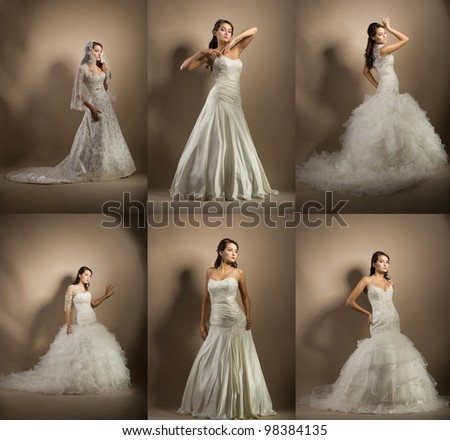 Collage of photo with beautiful young woman posing in a wedding dress - stock photo
