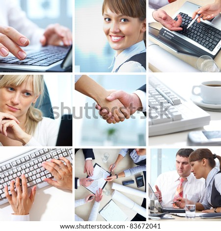 collage of photographs on the subject of a successful business