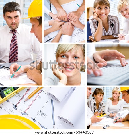 collage of photographs on the subject of a successful business, constructor, teamwork