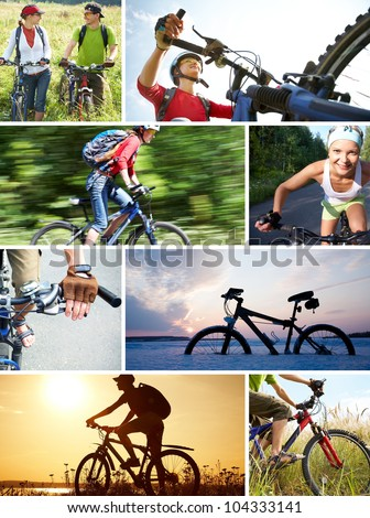 collage of photographs on the theme of love for cycling recreation