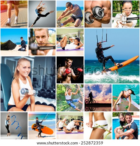 collage of photos about sport and healthy lifestyles