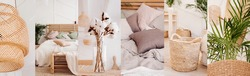 collage of 6 photos in one style: elements of home decor in boho style: wicker chandelier, pastel bed, wicker baskets, bouquet of cotton, green plants. natural calm colors well-being apartment decor