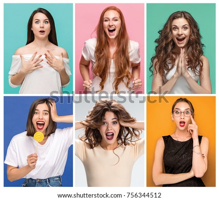 collage of photos of attractive smiling women