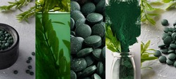 Collage of photos of spirulina and Chlorella in the form of powder, algae and tablets. Scientists are developing research on algae. Bio-energy, biofuel, energy research. Horizontal orientation