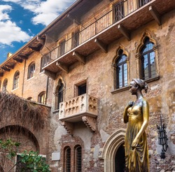 Collage of photos, the bronze statue of Juliet and the Romeo & Juliet balcony, Verona Italy