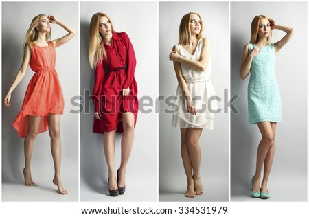 Stock Photo Collage of photos with beautiful young woman. Fashion concept