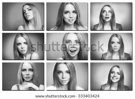 Collage of photos with emotional young woman #333403424
