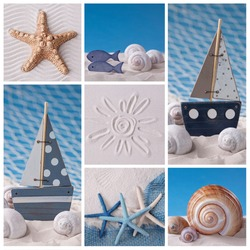 Collage of photos with marine life decoration