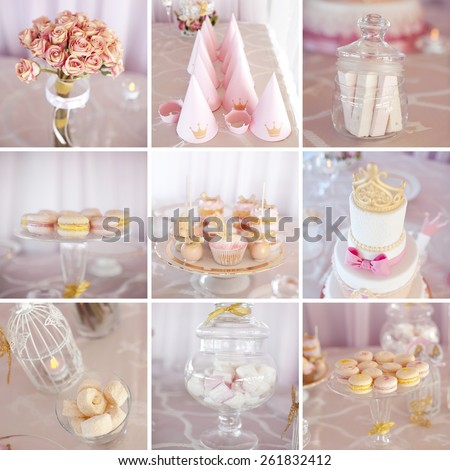 Collage of photos with wedding decorations: macaroons, cake, bouquet of roses, muffins. Birthday party. Celebration.