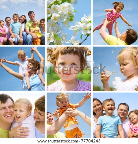 collage of pictures happy family little children in summertime outdoor