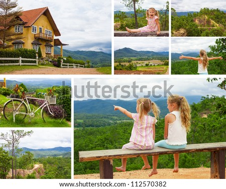 collage of pictures of happy children on the nature