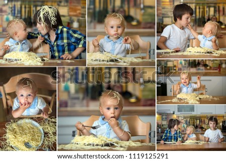 Collage of pictures of three kids, eating spaghetti and making a mess at home, having fun