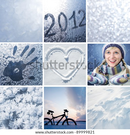 Collage of pictures on the theme of winter, snow and New Year #89999821