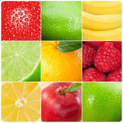 Collage of pictures showing various fruits
