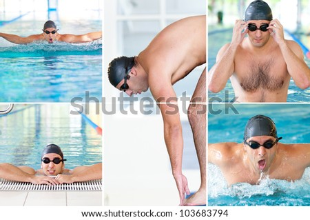 Collage of pictures with male model swimmer in indoor swimming pool