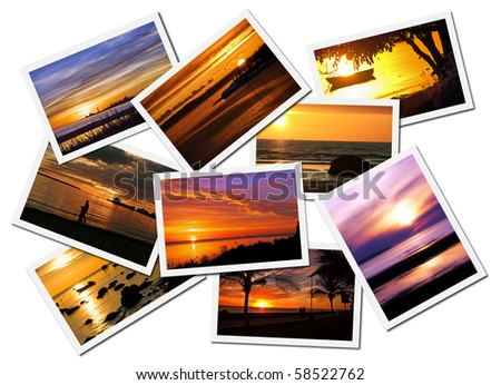 Collage of picturesque ocean sunset postcards isolated on white background