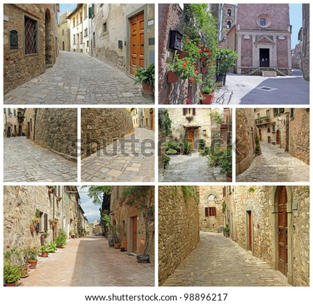 collage of picturesque old streets in italian small towns : borgo Montefioralle, borgo Sovana and borgo Pitigliano, Tuscany, Italy