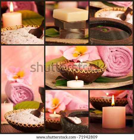 Collage of pink spa setting.