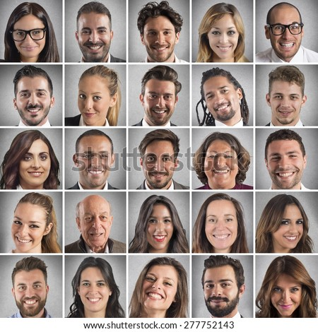 Collage of portrait of many smiling faces