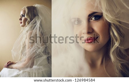 Collage of portraits of a beautiful blonde bride with long curly hair posing over wooden background. daylight. studio shot