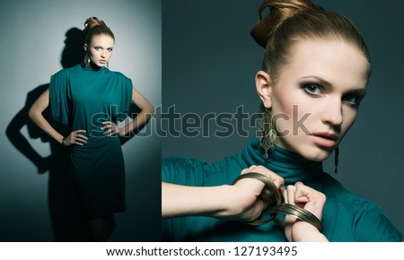 Collage of portraits of a beautiful young blonde in a green (blue) dress wearing wristbands over dark blue background. studio shot
