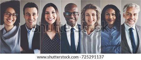 Collage of portraits of an ethnically diverse and mixed age group of focused business professionals #725291137