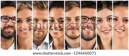 Collage of portraits of an ethnically diverse young business people. #1246460071