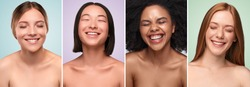 Collage of portraits of beautiful multiracial women with clean skin laughing with closed eyes against colorful backgrounds